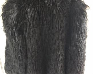 Black shag synthetic coat by Cathy Hardwick, IPSO FACTO. No size, looks like a medium. $45, comes with a $25 Nordstrom Gift Card