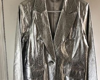 New silver metallic leather jacket by Diane Gilman. Medium. $40,  comes with a $25 Nordstrom Gift Card!