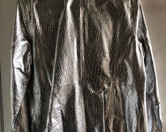 New silver metallic leather jacket by Diane Gilman Medium. $40,  comes with a $25 Nordstrom Gift Card!