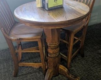 Solid Oak Bar Height Table