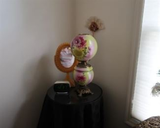 antique painted  lamp