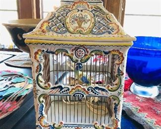 French faience bird cage light