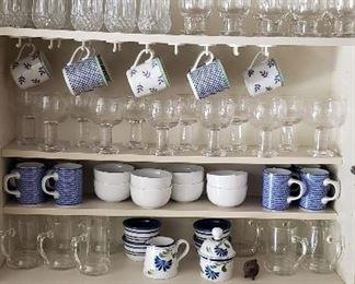 Glassware and Dansk Coffee Mugs