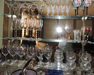 Bar items.  Glassware, crystal, decanters, bar tools, ice buckets