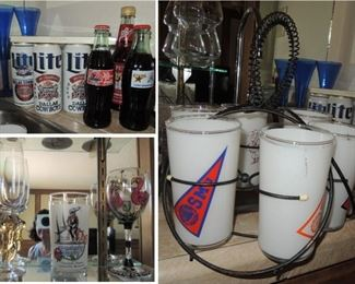 Collectible beer and soda cans/bottles. SEC retro tumbler set with carrier