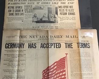 Newspaper headlines - WWI & WWII