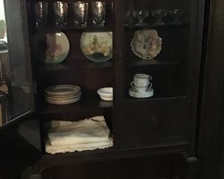 Antique china cabinet - bottom shelf is not visible when doors are closed