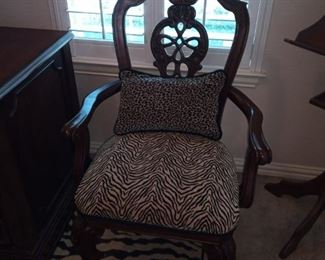 Beautiful zebra print chair with matching pillow