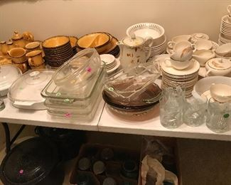 PoppyTrail, Fire King, Pyrex, Corning Ware, Hall China, Blue Jars and large enamel canning pots! Dishes for DAYS!