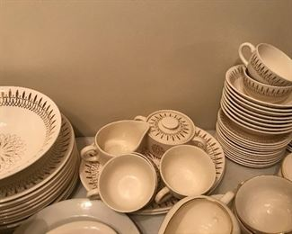 Very cool, unmarked, MCM atomic look set of dishes!