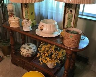 Beautiful old planters, Asian, mid century ceramic lamps, sofa table and more!