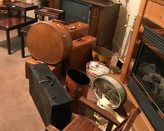 Vintage Samsonite luggage and they all have KEYS! Child's rocker and tons of smalls, tv's and decor!