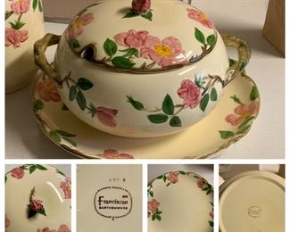 Franciscan Desert Rose tureen with underplate