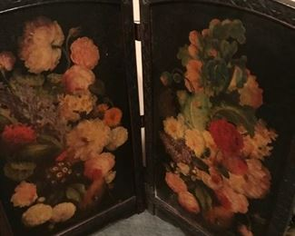 beautiful painted screen--antique