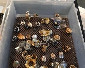 costume jewelry--clip earrings, some vintage