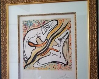 "Dali framed Lithograph signed "" Hallucinogenic Embrace"""
