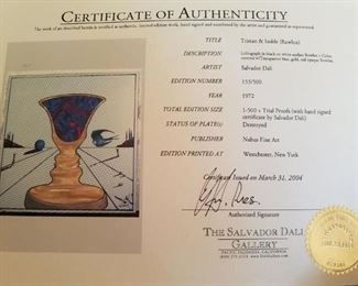 "COA of Tristan & Isolde from The Salvador Dali Gallery . Worlds only gallery that exclusively sells Dali art and recognized as one of the worlds leading experts and inducted by the Salvador Dali's Musuem the ""Order of Salvador""."