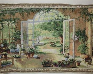 Victorian Garden Scene Wall Tapestry