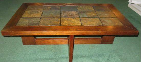 Wood Slate Top Coffee Table