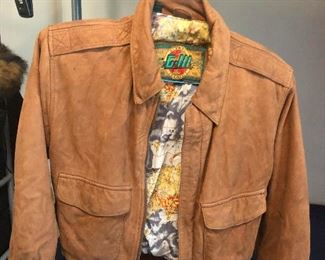leather jacket with tropical interior