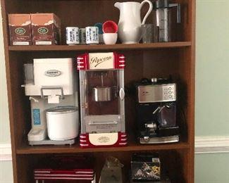 bookshelf full of kitchenware.