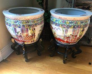 large asian ceramic pots