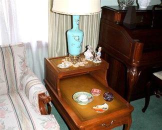 Mersman leather-top end tables, vintage blue opaline glass lamps