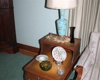 Mersman leather-top end tables , vintage blue opaline glass lamps