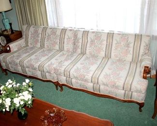 French Provincial 2-piece upholstered sofa