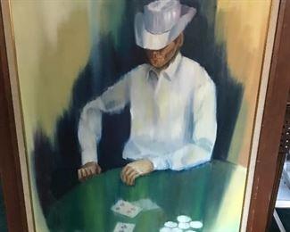 Cowboy Playing Poker painting