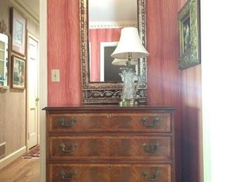 Vintage 4-drawer chest, by Hickory Chair Co., American Brilliant cut glass pitcher table lamp, good wall mirror.