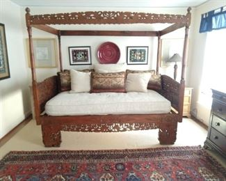 WONDERFUL carved wood Asian daybed, dated 1956, with all pillows and cushions.