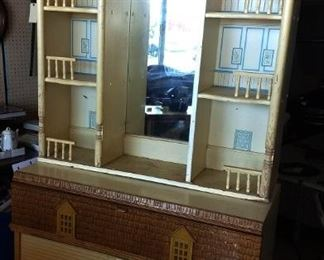 Mid-Century Children's Dresser/Mirror with Home Facade
