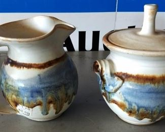 Creamer and Sugar Bowl Pottery, Signed
