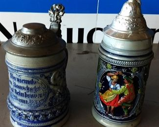 Vintage West German Lidded Beer Steins