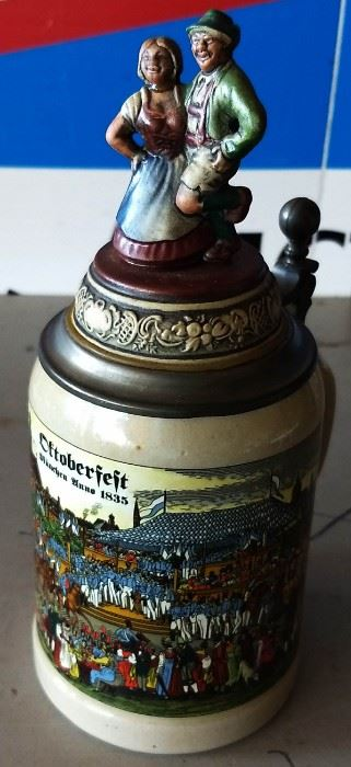 Vintage West German Lidded Beer Stein