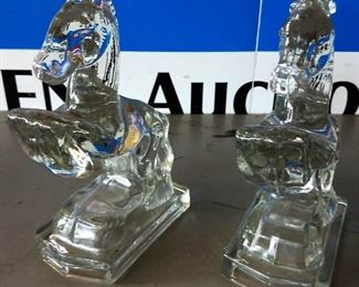 Vintage Glass Horse Bookends