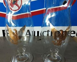 Pair of Vintage West Virginia Hurricane Glass with Eagle Accents