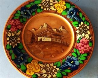 Vintage Wooden Carved Plate
