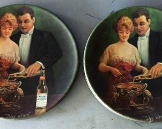 Vintage Budweiser Advertising Plates (Plastic)