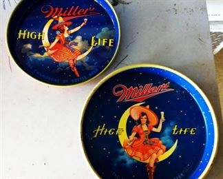 Vintage Miller High Life Beer Metal Trays