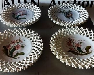 Antique, Hand-painted Milk Glass Plates