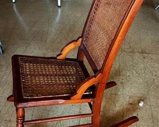 Vintage Cane-Bottom/Back Rocking Chair