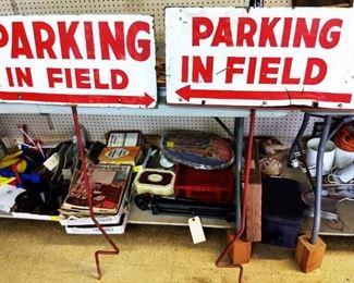 """Vintage """"Parking in Field"""" Metal Signs"""