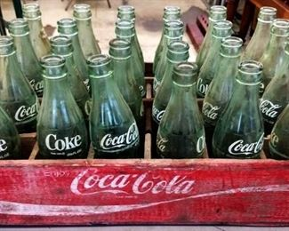 Vintage Coca-Cola Bottles and Wood Crate