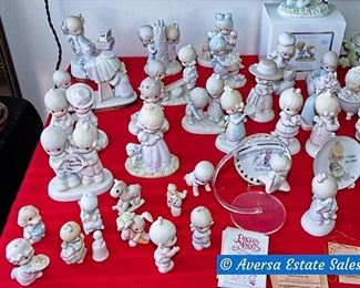 Table Full of Precious Moments and Jan Hagara Figurines