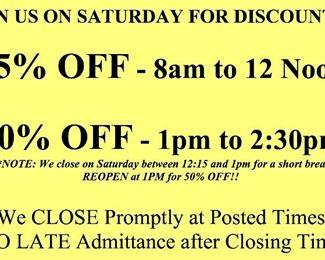 saturday discounts