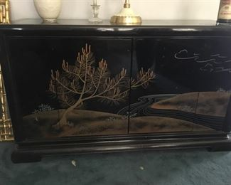 Mid Century Black Lacquer Buffet--Beauty!