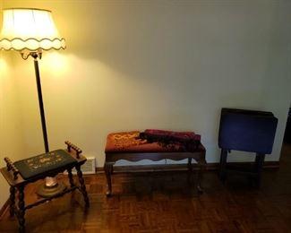 Needlepoint bench, floor lamp, piano bench, wood TV tray set.