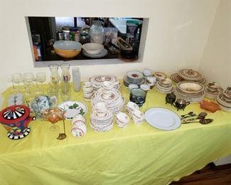 China, stemware, brass, silver pieces.